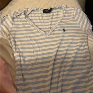 Striped polo tee shirt